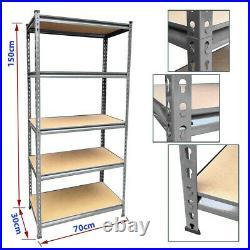 150 x 70 x 30 cm 5 Tier Heavy Duty Storage Racking Grey Shelving Boltless Garage