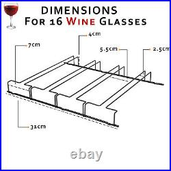 16 Wine Glass Under Shelf Holder Cabinet Hanging Stemware Chrome Storage Rack