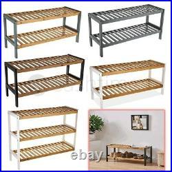 2/3 Tier Natural Bamboo Wooden Shoe Rack Organiser Stand Storage Shelf Unit New