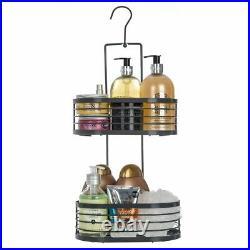 2 Tier Hanging Storage Shower Rack Shelf Organiser Bathroom Caddy Basket Tidy UK