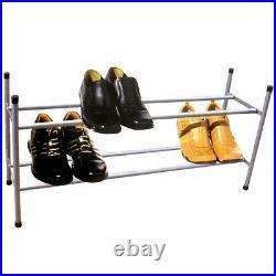2 Tier Stackable & Extendable 12 Pairs Shoe Rack Storage Organiser Holder Shelf