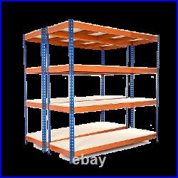 2 X 4 Tier Steel Shelving Heavy Duty Garage Storage Racking 400KG UDL