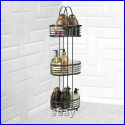 3 Tier Chrome Oval Shower Caddy Bathroom Free Standing Storage Rack Shelf Tidy
