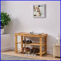 3 Tier Natural Bamboo Wooden Shoe Rack Bench Organiser Stand Storage Shelf Seat