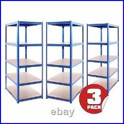 3 x Blue Metal 5 Tier Deep Garage Shelves Shelving Racking Storage 180x120x60cm