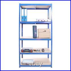 3 x Blue Metal 5 Tier Garage Shelves Shelving Unit Racking Storage 180x90x60cm