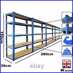 4 Garage Shelving Racking Heavy Duty Steel Boltless Warehouse Unit 5 Tier 280cm
