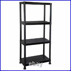 4 Tier Black Racking Shelving Shelves Plastic Rack Storage Shelf Unit New
