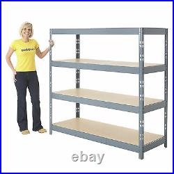 4 Tier Garage Shelving Heavy Duty Boltless Racking Home Storage Shelves