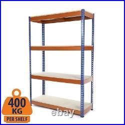 4 Tier Steel Shelving/Metal Shelf/Garage Storage/Racking Blue & Orange 400KG UDL