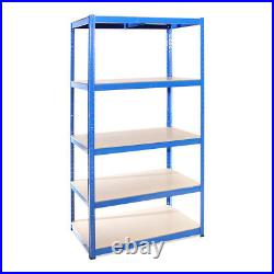 4 x Blue Metal 5 Tier Garage Shelves Shelving Unit Racking Storage 180x90x60cm