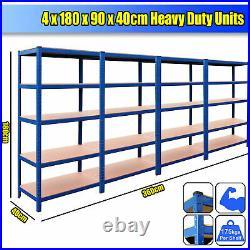 4 x Garage Shelving Racking Heavy Duty Steel Boltless Warehouse Unit 5 Tier 80cm