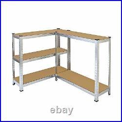 5 Bay Galvanised Corner Shelving/Racking Unit Garage Storage Shelves 1800mm H