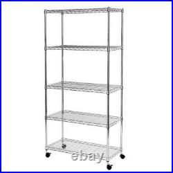 5 Shelf Chrome Wire Shelving 150cm Tall Racking Heavy Duty Storage with Wheels