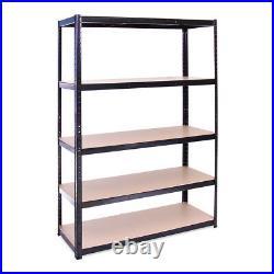 5 Tier Black Metal Garage Shelves Shelving Unit Racking Storage 180x120x45cm