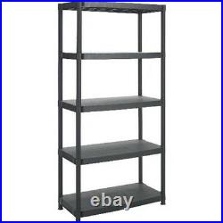 5 Tier Black Racking Shelving Plastic Shelves Rack Storage Shelf Unit New
