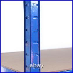 5 Tier Blue Metal Deep Garage Shelves Shelving Unit Racking Storage 180x90x60cm