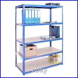 5 Tier Blue Metal Deep Wide Garage Shelves Shelving Racking Storage 180x120x60cm