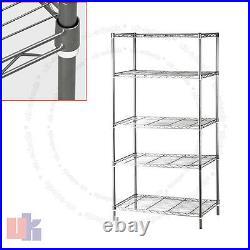 5 Tier Chrome Heavy Duty Steel Kitchen Garage Storage Shelving Shelf Rack UKED