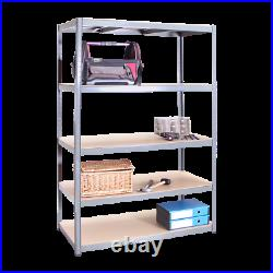 5 Tier Grey Metal Garage Shelves Shelving Unit Racking Storage Unit 180x120x60cm
