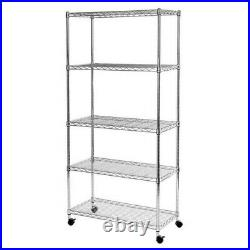 5 Tier Heavy Duty Steel Kitchen Garage Storage Shelving Shelf Rack UKDC