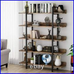 5-Tier Industrial Bookcase Storage Display Shelf Bookshelf Rustic Stand Rack QP