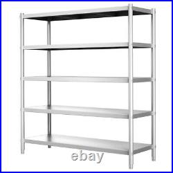 5 Tier Large Stainless Steel Kitchen Shelf Heavy Duty Commercial Storage Rack