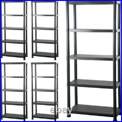 5 Tier Plastic Shelving Unit Storage Garage Racking Shelf Shelves Shed Warehouse