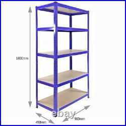 5 x Garage Shelves Shelving Racking Boltless Heavy Duty Storage Free Connectors
