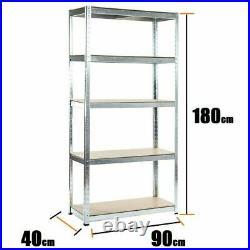 5Tier Boltless Garage Storage Shelving Steel Racking Galvanised 1800x900x400 mm