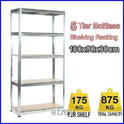 5Tier Boltless Garage Storage Shelving Steel Racking Galvanised 180x90x30cm UKES