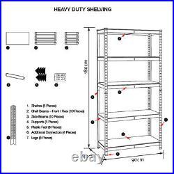 5Tier Boltless Garage Storage Shelving Steel Racking Galvanised 180x90x40cm UKDC