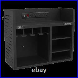 760mm Power Tool Storage Rack with Power Charging Strip STORES 4 TOOLS + SHELVES