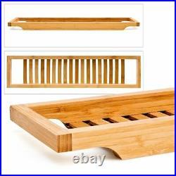 Bamboo Wooden Over Bath Bridge Tub Rack Storage Tray Shower Shelf Bathrooom Tidy