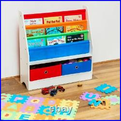 Children Books & Toys Storage Rack 4 Slings 2 Box Wooden Bedroom Playroom Kids