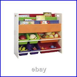 Children Books & Toys Storage Rack 4 Slings 6 Box Wooden Bedroom Playroom Kids