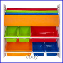 Children Kids Book Shelf Sling Storage Rack Organizer Bookcase Bookshelf Wooden