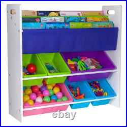 Children Kids Toy&Book Storage Rack Bookcase Bookshelf Tidy Bedroom Playroom UK
