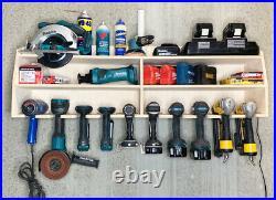 Cordless 10 Tool Holder Drill Impact Garage Storage Rack Wood Shelf Organizer