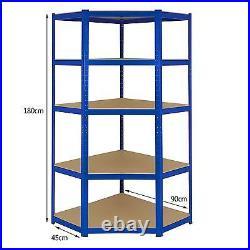 Corner Shelving 5 Tier Racking Boltless Shelving Heavy Duty Storage Shelf 90cm