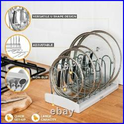 Cupboard Saucepan Pan Lids Storage Rack Holder Cabinet Kitchen Shelving Plates