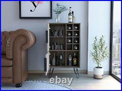 Drinks Storage Cupboard 2 Door Wine Rack Sideboard 8 Shelves Dark Grey Oak