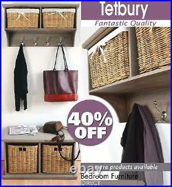 Entryway Storage Bench Hanging Shelf Coat Rack Wooden Hallway Furniture TETBURY