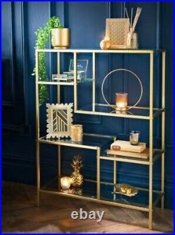 GOLD PLAZA Glass Shelf Bookcase Storage Rack Metal Frame Display Stand Unit New