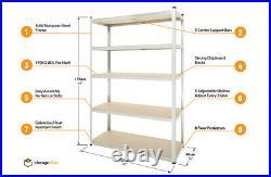 Garage Shelving Unit 5 Tier 176x90/120x40cm Galvanised Racking Storage