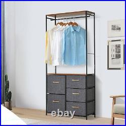 Grey Open Wardrobe Bedroom Storage Organiser Shelf Drawers Hanging Clothes Rack