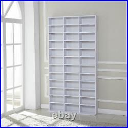 HOMCOM CD DVD Media Storage Shelves Shelf Racks Wood Display White