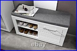 Hallway Furniture 4 Set Shoe Storage Coat Rack Cabinet White Gloss Flames