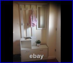 Hallway Shoe Storage Unit Coat Rack Stand White Bench Shelf Cabinet Mirror Hooks