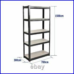 Heavy Duty Metal Storage 5Tier Shelving Boltless Racking Shelf Shelve Rack